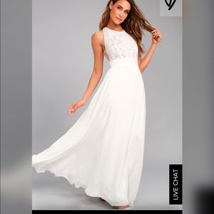 Lulu's Forever and Always white lace maxi